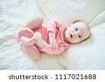 adorable 4 months old baby girl ... | Shutterstock . vector #1117021688