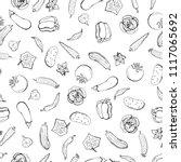 vector seamless retro drawing... | Shutterstock .eps vector #1117065692