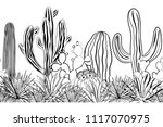 hand drawn seamless pattern... | Shutterstock .eps vector #1117070975