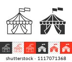 circus tent black linear and... | Shutterstock .eps vector #1117071368