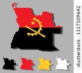 angola map with national flag... | Shutterstock .eps vector #1117109642
