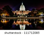 Stock photo us capitol building and reflecting poll at night 111712085