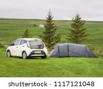grey tent and white car  wild... | Shutterstock . vector #1117121048
