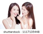 two beauty skincare woman touch ... | Shutterstock . vector #1117135448