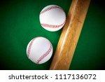 two white baseball ball and... | Shutterstock . vector #1117136072