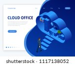 isometric cloud office with... | Shutterstock .eps vector #1117138052