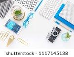 top view tablet  smartphone ...   Shutterstock . vector #1117145138