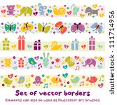 Cute Borders With Baby Icons...