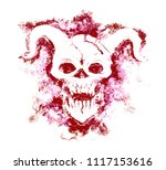 red silhouette of devil face...   Shutterstock . vector #1117153616