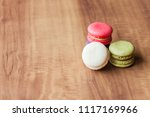colorful french macarons on... | Shutterstock . vector #1117169966