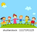 happy children holding hand  | Shutterstock .eps vector #1117191125