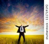 happy businessman standing on... | Shutterstock . vector #111719192