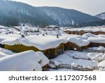 Snow Village At Sunny Day In...