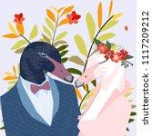 love swan couple in wedding... | Shutterstock .eps vector #1117209212