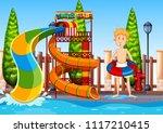 a man at waterpark illustration | Shutterstock .eps vector #1117210415