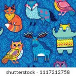 Tribal Forest Animals In Blue....