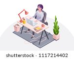 woman workplace vector... | Shutterstock .eps vector #1117214402