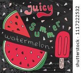 sweet juicy watermelon and ice...   Shutterstock .eps vector #1117222532