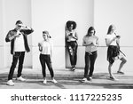 friends using smartphones... | Shutterstock . vector #1117225235