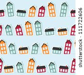 paper town seamless pattern.... | Shutterstock .eps vector #111722606