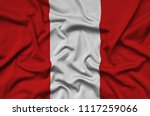 peru flag  is depicted on a...   Shutterstock . vector #1117259066