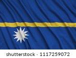 nauru flag  is depicted on a...   Shutterstock . vector #1117259072