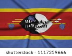 swaziland flag  is depicted on...   Shutterstock . vector #1117259666