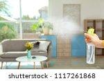 woman spraying air freshener at ... | Shutterstock . vector #1117261868