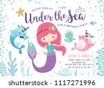 kids birthday party invitation... | Shutterstock .eps vector #1117271996