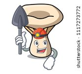 Miner Milk Mushroom Mascot...