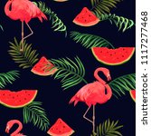 seamless pattern with flamingos ... | Shutterstock .eps vector #1117277468