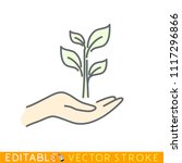 sprout in caring hand. editable ...   Shutterstock .eps vector #1117296866