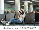 young joyful traveler tourist...   Shutterstock . vector #1117299482
