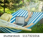 young relaxing man in summer...   Shutterstock . vector #1117321016