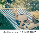 back view of lying young man in ...   Shutterstock . vector #1117321022