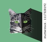 flat graphic design gray cat...   Shutterstock .eps vector #1117328192