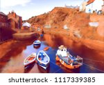 fishing boats moored in the... | Shutterstock . vector #1117339385