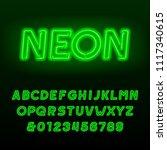 green neon tube alphabet font....   Shutterstock .eps vector #1117340615