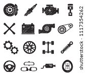 car parts icons. black scribble ... | Shutterstock .eps vector #1117354262