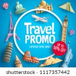travel promo vector banner... | Shutterstock .eps vector #1117357442