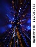 christmas tree blue lights... | Shutterstock . vector #1117357538