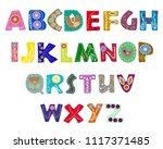 latin alphabet vector in... | Shutterstock .eps vector #1117371485