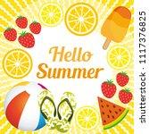 hello summer. cute background... | Shutterstock .eps vector #1117376825