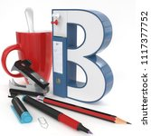 """b"" 3d letter with office stuff ... 