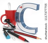 """c"" 3d letter with office stuff ... 
