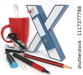 """x"" 3d letter with office stuff ... 