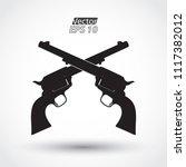 crossed silhouette revolvers  ... | Shutterstock .eps vector #1117382012