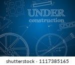 abstract blue print gear  under ... | Shutterstock .eps vector #1117385165