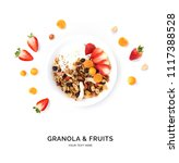 creative layout made of granola ... | Shutterstock . vector #1117388528