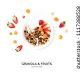 creative layout made of granola ... | Shutterstock . vector #1117388528
